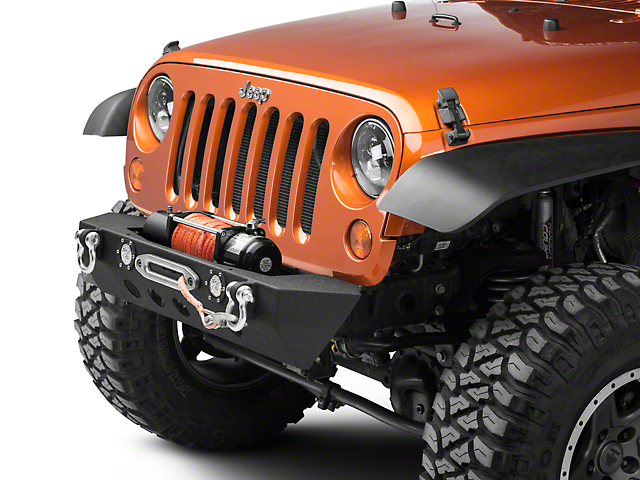 RedRock 4x4 Stubby Winch Front Bumper with LED Fog Lights (07-18 Jeep Wrangler JK)