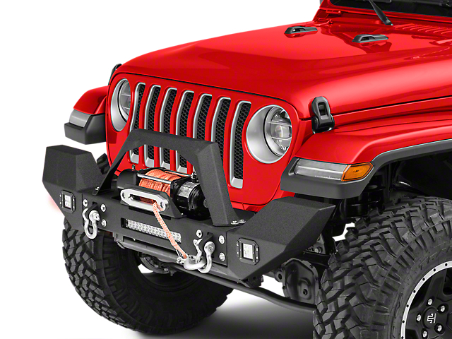 RedRock 4x4 Max-HD Full Width Winch Front Bumper with Fog Lights and LED Light Bar (18-20 Jeep Wrangler JL)