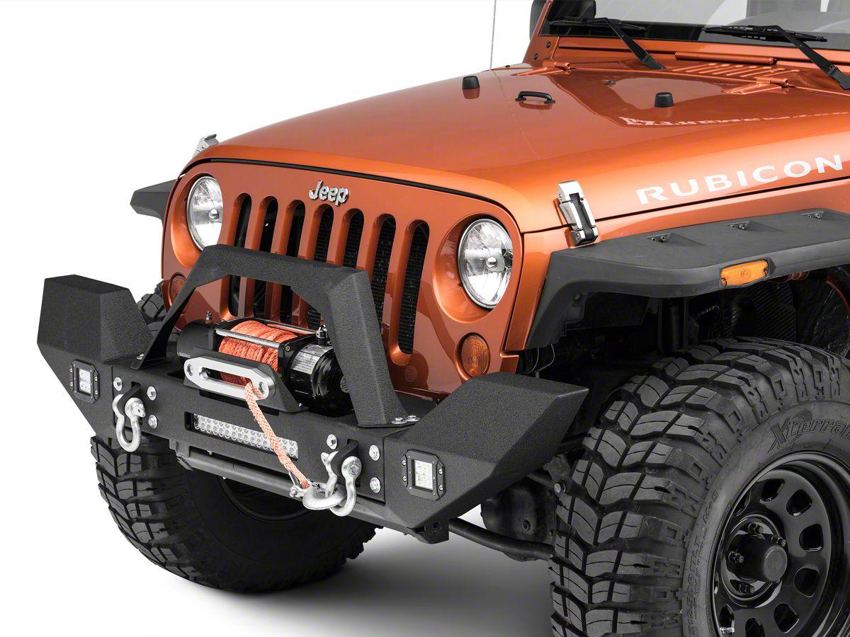 Redrock 4x4 Max Hd Full Width Front Bumper W Led Light Bar Fog Lights Winch Mount 07 18 Jeep Wrangler Jk