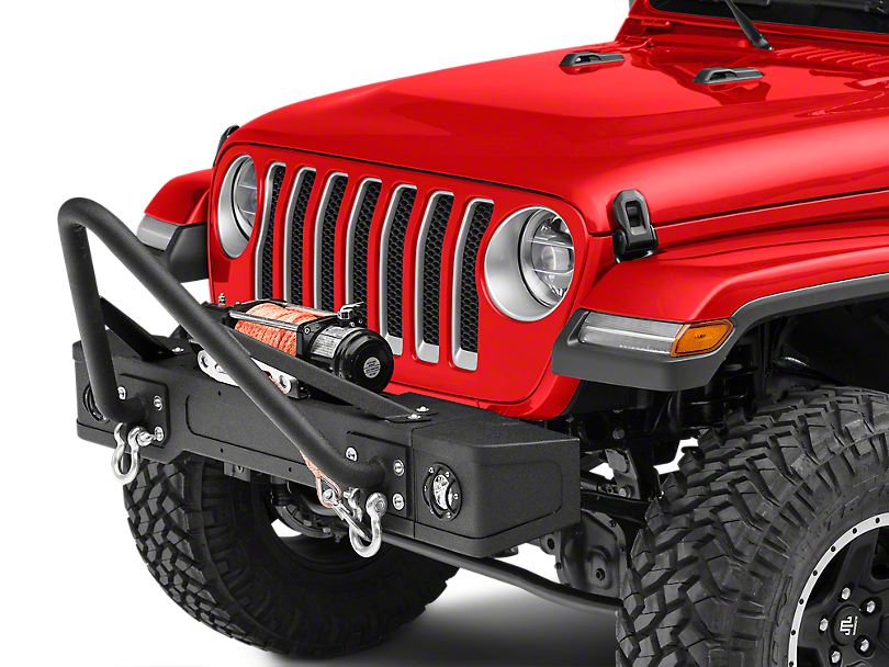 RedRock 4x4 Stubby Front Bumper w/ LED Fog Lights & Winch Mount (18-19 Jeep Wrangler JL)