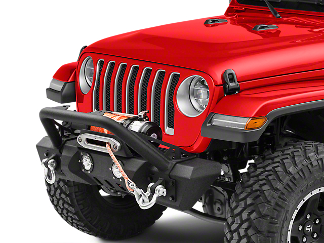 RedRock 4x4 Stubby Winch Front Bumper with LED Fog Lights and Over-Rider Hoop (18-20 Jeep Wrangler JL)