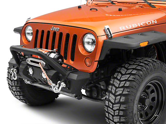 RedRock 4x4 Stubby Winch Front Bumper with LED Fog Lights and Over-Rider Hoop (07-18 Jeep Wrangler JK)