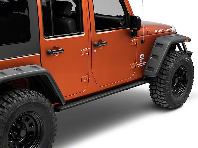 RedRock 4x4 HD Straight Rocker Steps; Textured Black (07-18 Jeep Wrangler JK 4 Door)