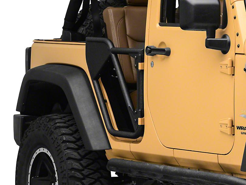 Smittybilt SRC Rear Tubular Doors - Black Textured (07-18 Jeep Wrangler JK 4 Door)