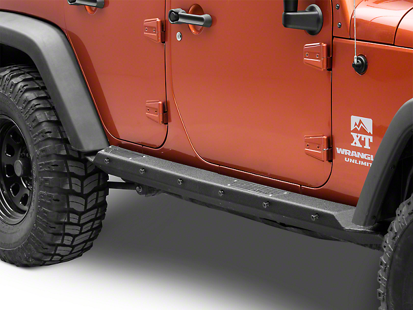 Smittybilt XRC Rocker Guards w/ Step - Textured Black (07-18 Jeep Wrangler JK 4 Door)