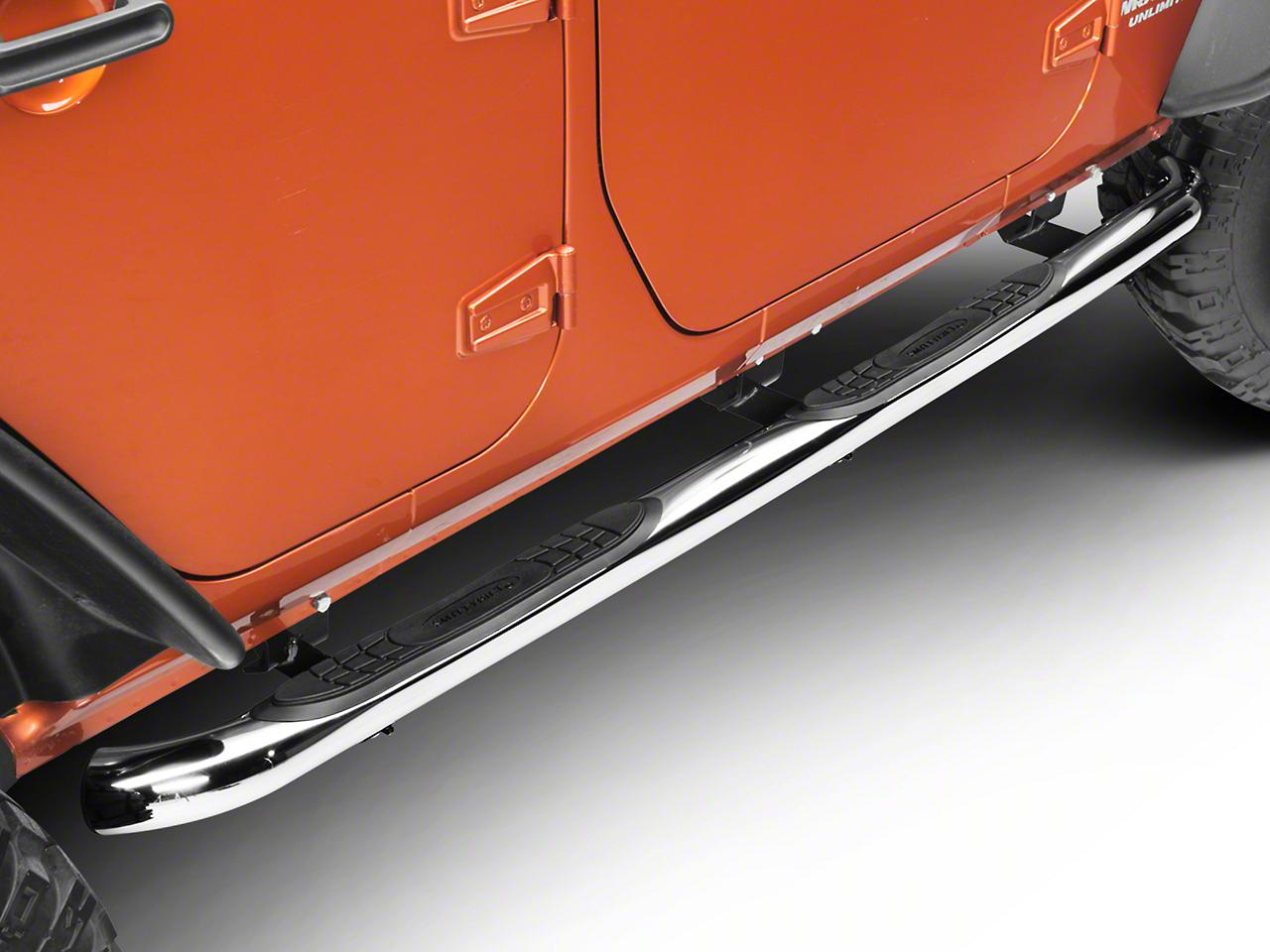 Smittybilt 3 in. Sure Side Step Bars - Stainless Steel (07-18 Wrangler JK 4 Door)