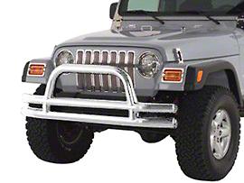 Smittybilt Front Tubular Bumper w/ Hoop - Stainless Steel (87-06 Wrangler YJ & TJ)