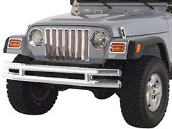 Smittybilt Front Tubular Bumper w/o Hoop - Stainless Steel (87-06 Wrangler YJ & TJ)