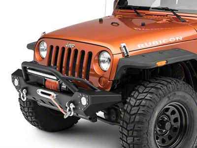 barricade jeep wrangler adventure hd front bumper j107329 (07 18  barricade adventure hd front bumper w led fog lights \u0026 20 in led light