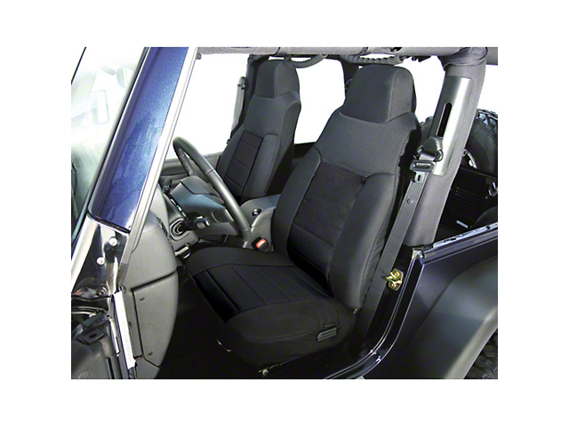 Rugged Ridge Fabric Front Seat Covers; Black (03-06 Jeep Wrangler TJ)