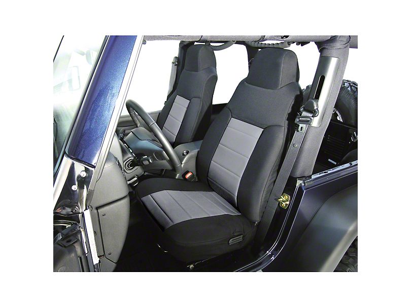 Rugged Ridge Custom Fabric Front Seat Covers - Gray/Black (92-95 Jeep Wrangler YJ)