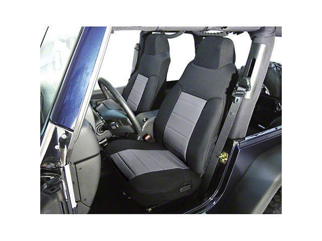 Rugged Ridge Fabric Front Seat Covers; Black/Gray (91-95 Jeep Wrangler YJ)