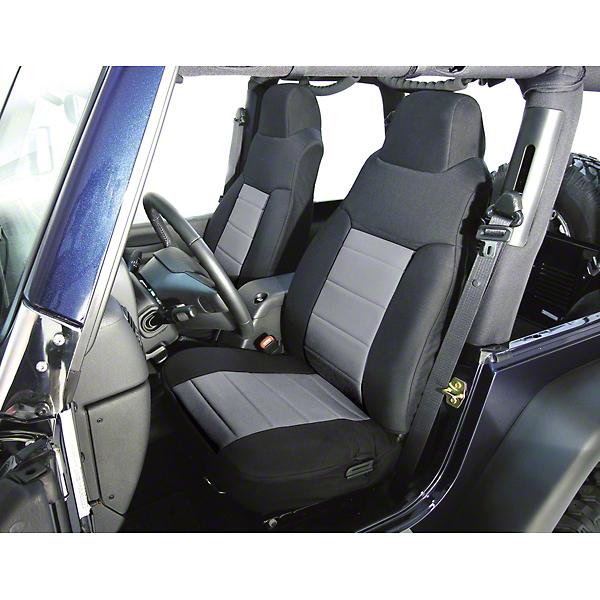 Rugged Ridge Custom Fabric Front Seat Covers Pair Gray/Black (92-95 Wrangler YJ)