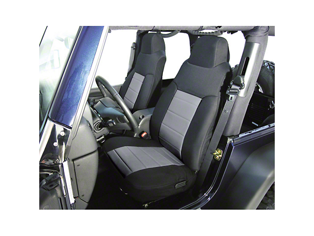 Rugged Ridge Custom Fabric Front Seat Covers - Gray/Black (03-06 Jeep Wrangler TJ)