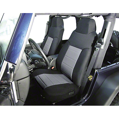Rugged Ridge Custom Fabric Front Seat Covers - Gray/Black (03-06 Wrangler TJ)