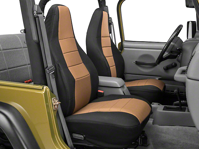 Rugged Ridge Custom Fabric Front Seat Covers - Tan/Black (97-02 Wrangler TJ)