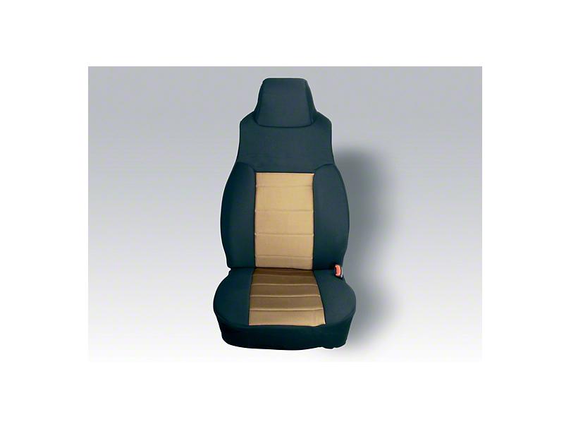 Rugged Ridge Custom Fabric Front Seat Covers Pair Tan/Black (03-06 Wrangler TJ)