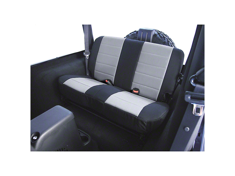 Rugged Ridge Custom Fabric Rear Seat Cover - Gray/Black (87-95 Jeep Wrangler YJ)