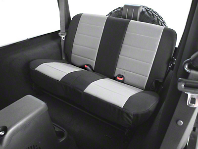 Rugged Ridge Custom Fabric Rear Seat Cover - Gray/Black (03-06 Wrangler TJ)