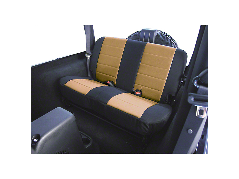 Rugged Ridge Custom Fabric Rear Seat Cover - Tan/Black (87-95 Jeep Wrangler YJ)