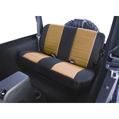 Rugged Ridge Custom Fabric Rear Seat Cover - Tan/Black (87-95 Wrangler YJ)