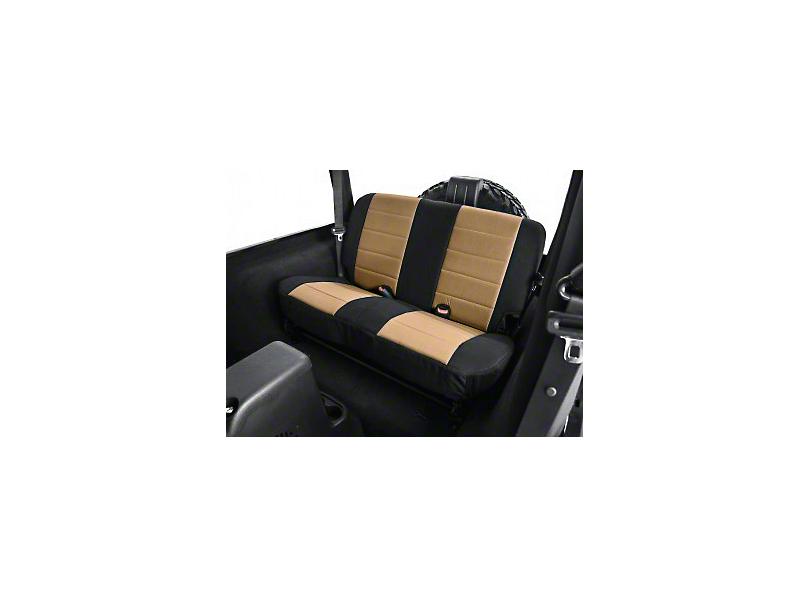 Rugged Ridge Custom Fabric Rear Seat Cover - Tan/Black (03-06 Jeep Wrangler TJ)