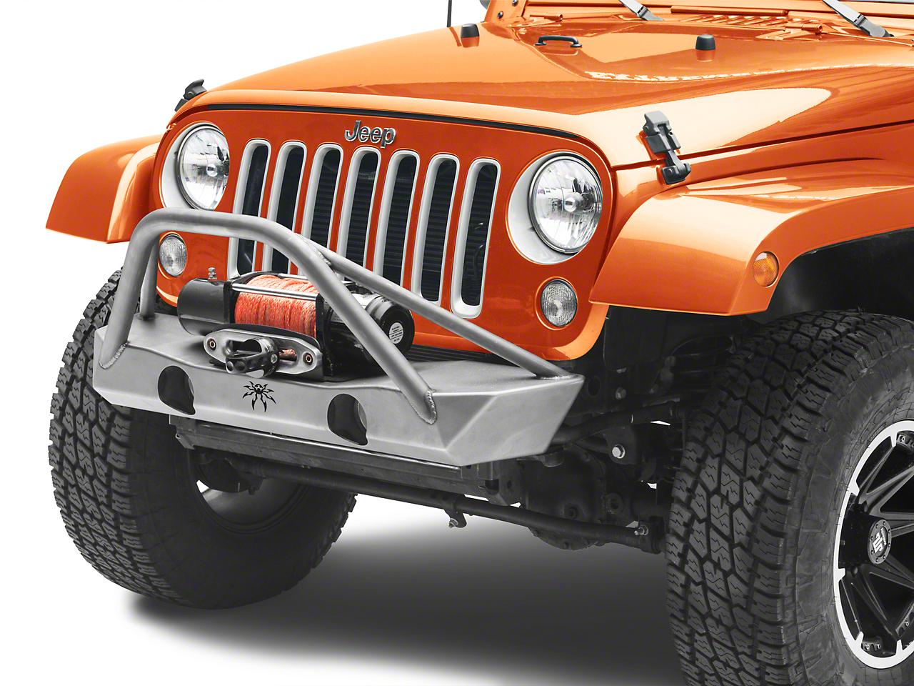 Poison Spyder Brawler Lite Front Bumper w/ Brawler Bar - Bare Steel (07-18 Wrangler JK; 2018 Wrangler JL)
