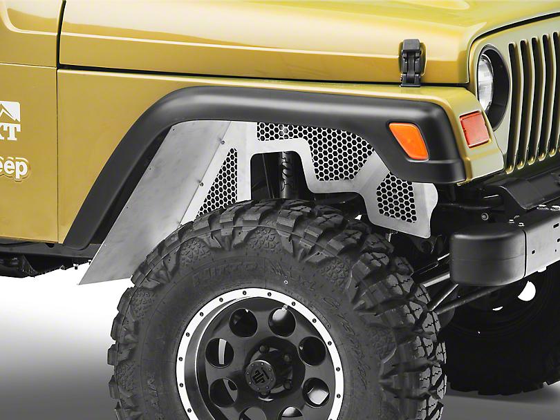 Poison Spyder DeFender XC Vented Inner Fender Kit - Bare Aluminum (97-06 Jeep Wrangler TJ)