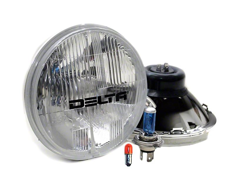 Delta 7 in. Xenon Headlights w/ Halogen DRL (97-06 Jeep Wrangler TJ)