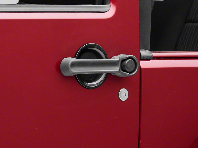 RedRock 4x4 Door Handle Recess Guards; Gloss Black (07-18 Jeep Wrangler JK 2 Door)