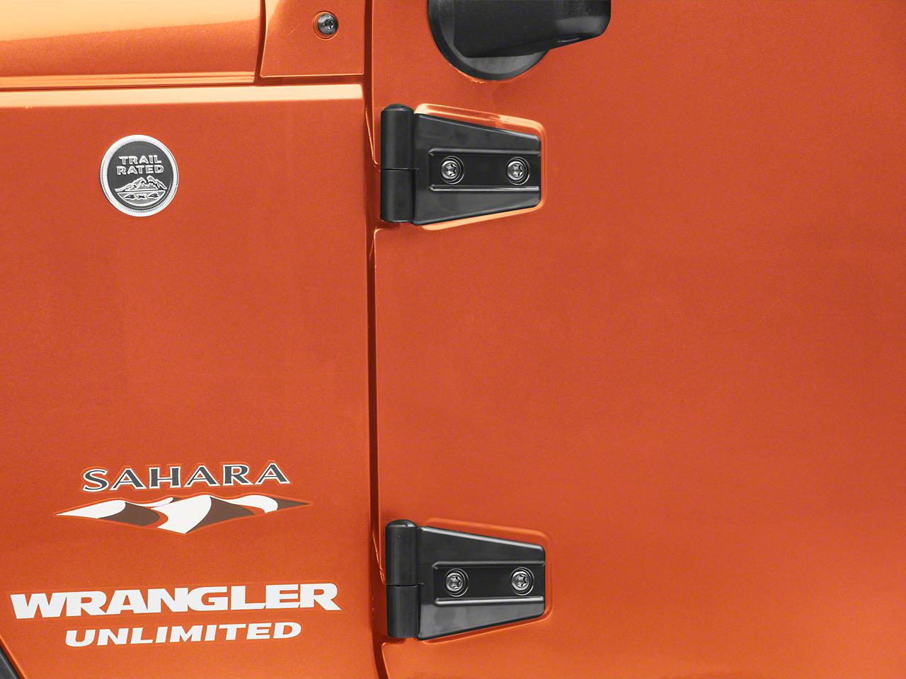 RedRock 4x4 Door Hinge Covers - Gloss Black (07-18 Jeep Wrangler JK 4 Door)