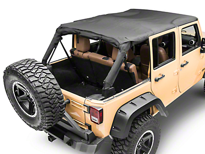 MasterTop Bimini Top Plus - Black Diamond (07-18 Jeep Wrangler JK 4 Door)