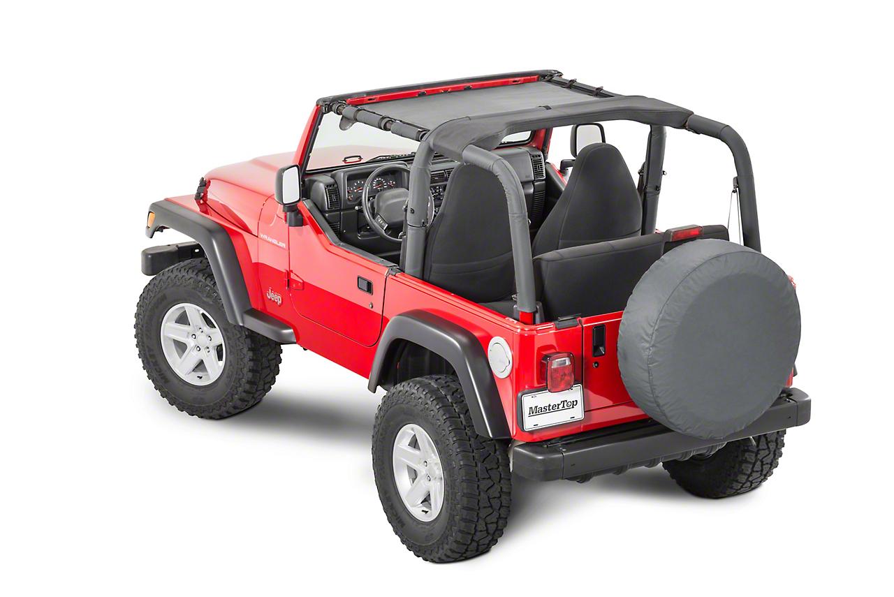 MasterTop ShadeMaker Mesh Bimini Top - Black (97-06 Jeep Wrangler TJ)