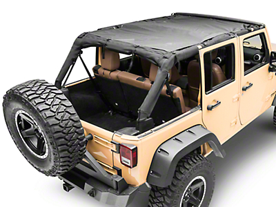 MasterTop ShadeMaker Mesh Bimini Top Plus - Black (07-18 Jeep Wrangler JK 4 Door)