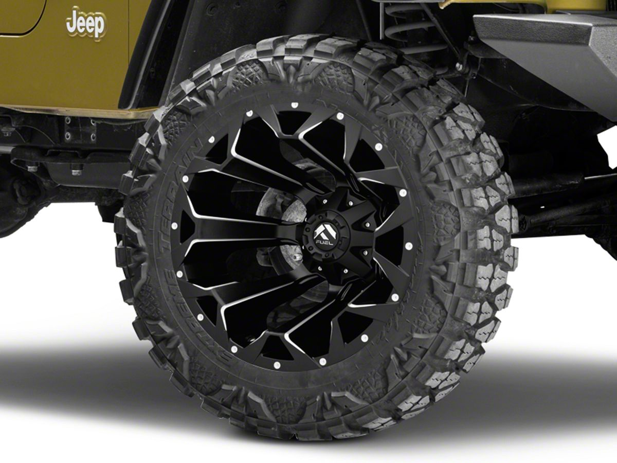 Jeep Wrangler Rims And Tire Packages >> Fuel Wheels Assault Satin Black Milled Wheel 20x12 97 06 Jeep Wrangler Tj