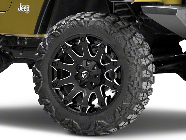 Fuel Wheels Battle Axe Gloss Black Milled Wheel - 20x9 (87-06 Jeep Wrangler YJ & TJ)
