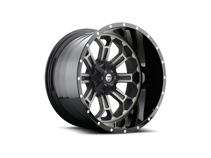 Fuel Wheels Crush Matte Black Machined Wheel - 22x10 (87-06 Jeep Wrangler YJ & TJ)