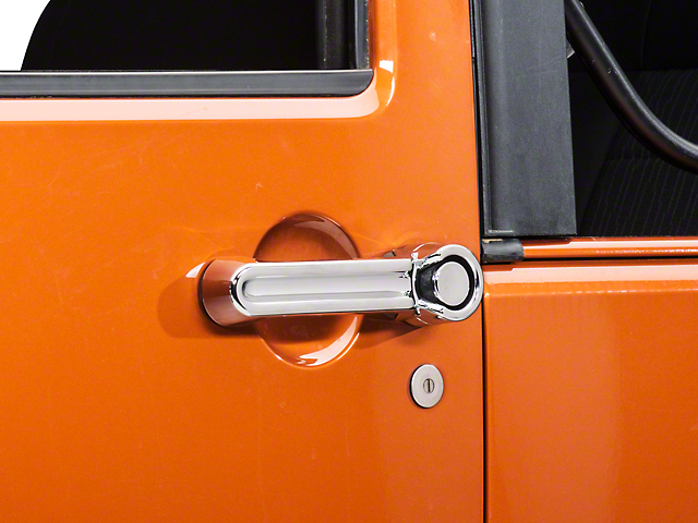 Rugged Ridge Door Handle Covers; Chrome (07-18 Jeep Wrangler JK 2 Door)