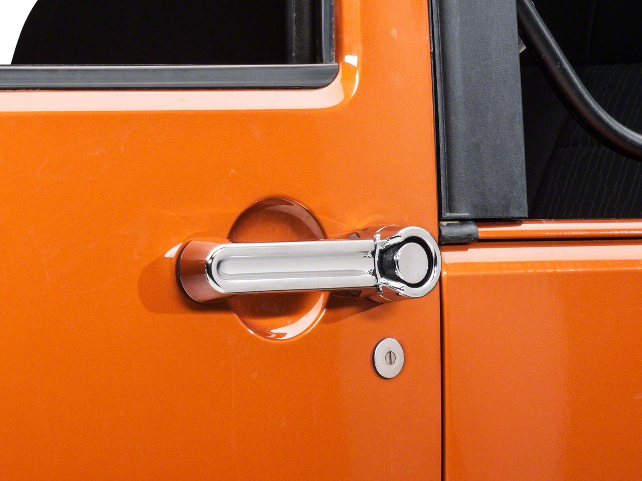 Chrome Door Handle Covers 2-Pc Set Fits 2007-2018 Jeep Wrangler JK