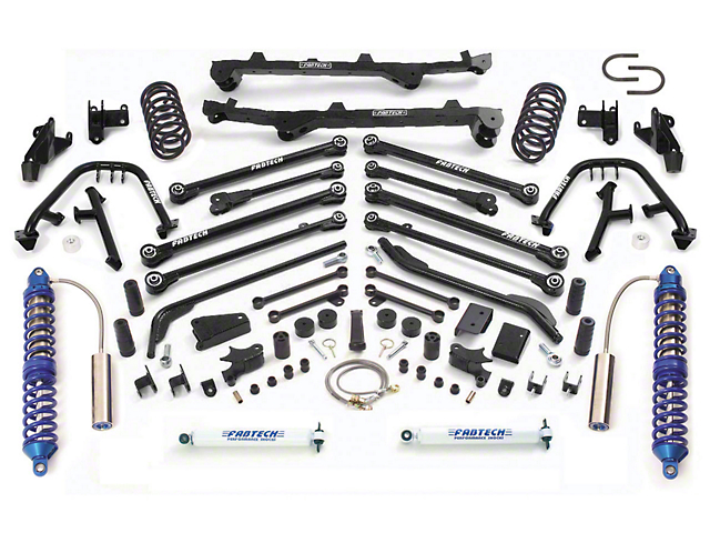 Fabtech 6 in. Long Arm Lift System w/ Front Dirt Logic 2.5 Coilovers & Rear Performance Shocks (03-06 Jeep Wrangler TJ)