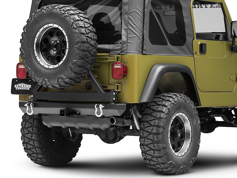 Smittybilt SRC Classic Rear Bumper w/ D-Rings, Hitch & Tire Carrier - Textured Black (87-06 Jeep Wrangler YJ & TJ)