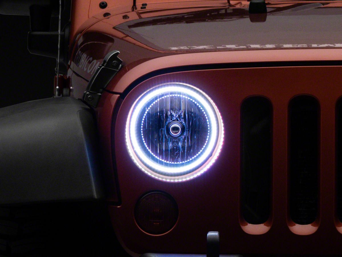 Oracle Led Waterproof Headlight Halo Conversion Kit Colorshift 07 18 Jeep Wrangler Jk