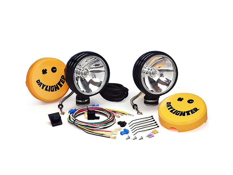 KC HiLiTES Jeep Wrangler 6 in. Black Daylighter Round Halogen Lights on vinyl light up, whitehouse light up, nordstrom light up, nickel light up,