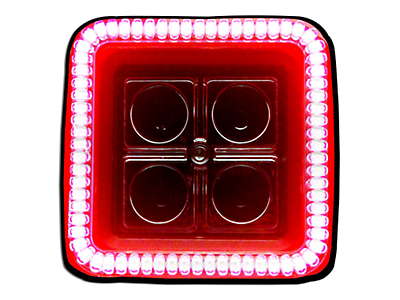 Oracle 3 in. Square Halo for Cube/Square Lights - Red (87-18 Wrangler YJ, TJ, JK & JL)