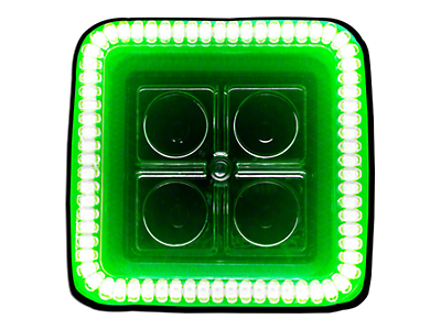 Oracle 3 in. Square Halo for Cube/Square Lights - Green (87-18 Jeep Wrangler YJ, TJ, JK & JL)