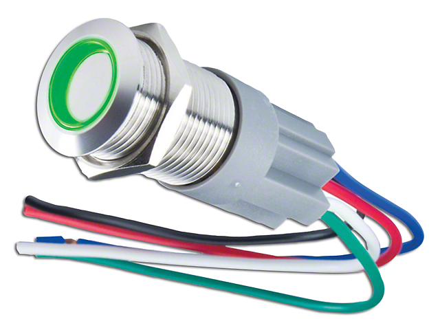 Oracle Pre-Wired On/Off Style Flush Mount LED Switch; Green (Universal Fitment)