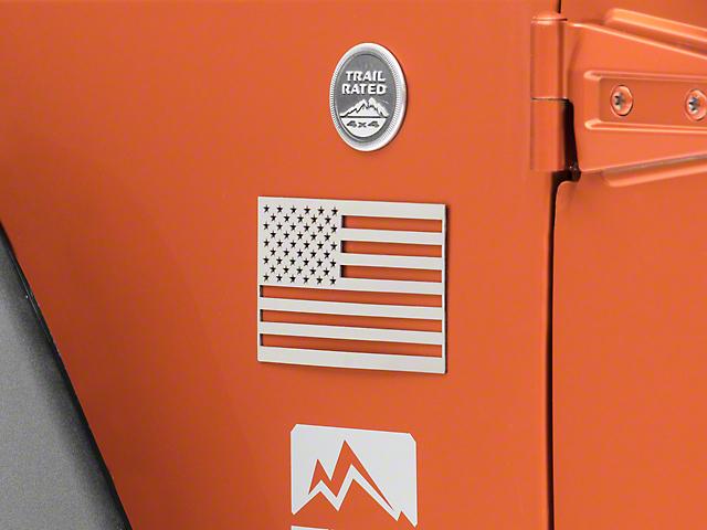 American Car Craft Stainless Steel American Flag Emblem - Polished (87-19 Jeep Wrangler YJ, TJ, JK & JL)