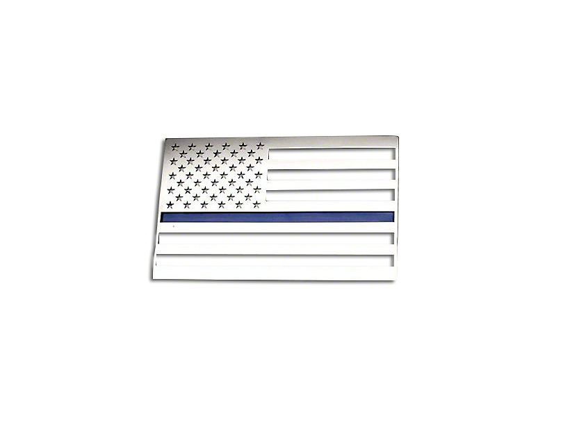 American Car Craft Stainless Steel American Flag Emblem - Polished w/ Thin Blue Line (Universal Fitment)