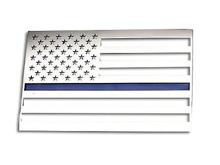 ACC Stainless Steel American Flag Emblem - Polished w/ Thin Blue Line (87-18 Jeep Wrangler YJ, TJ, JK & JL)