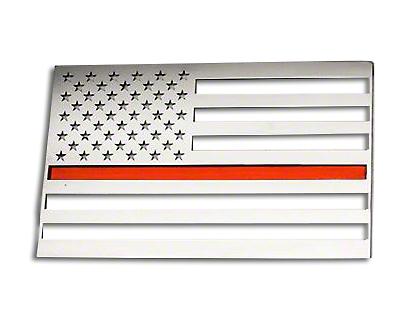 ACC Stainless Steel American Flag Emblem - Polished w/ Thin Red Line (87-18 Jeep Wrangler YJ, TJ, JK & JL)